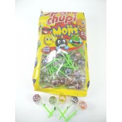 Chupa space Mojis caramelo con palo frutas 100 Unid
